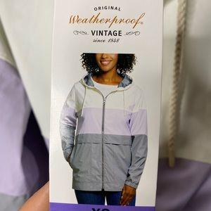 Purple white gray nwt weatherproof rain jacket